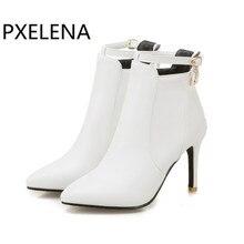 PXELENA botas para mujer de tacón alto blanco punta estrecha, zapatos hechos a mano, color rosa, negro, 34 43