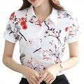 Мода печатных леди белый шифон блузки Большой размер S-4XL с коротким рукавом одежда девочек свободного покроя летние рубашки