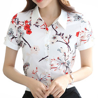 Fashion Printed Lady White Chiffon Blouses Plus Size S 4XL Short Sleeve Clothing Girls Casual Summer