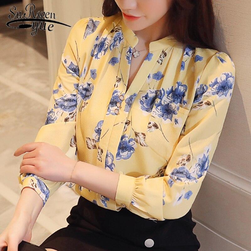 Fashion Woman Blouses 2019 Long Sleeve Print Chiffon Women Blouse Shirt Ladies Tops Feminine Blouses Women Shirt Blusas Z0001 40