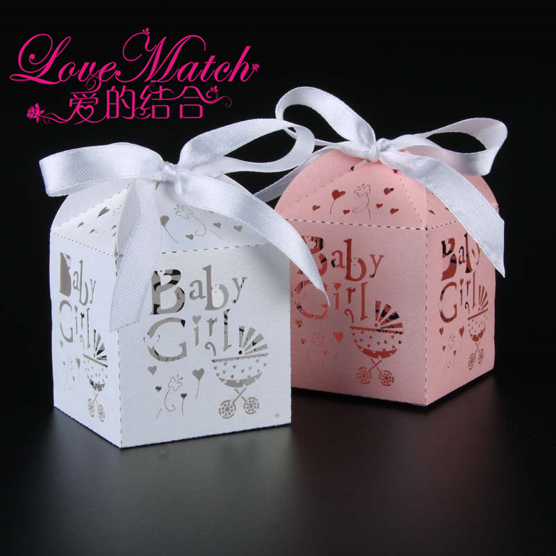 50Pcs Lovely Pink and White Baby Girl Laser Cut Gift Box Baby Shower Birthday Party Decorations Kids Party Supplies Candy Box