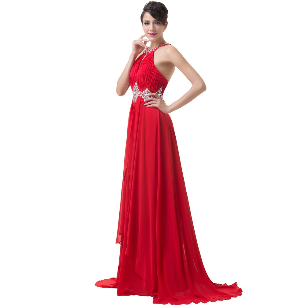 Grace Karin Long Red Evening Dresses 2018 Backless Beaded Chiffon Floor Length Elegant Formal Gowns Prom Sexy Party Dresses 9