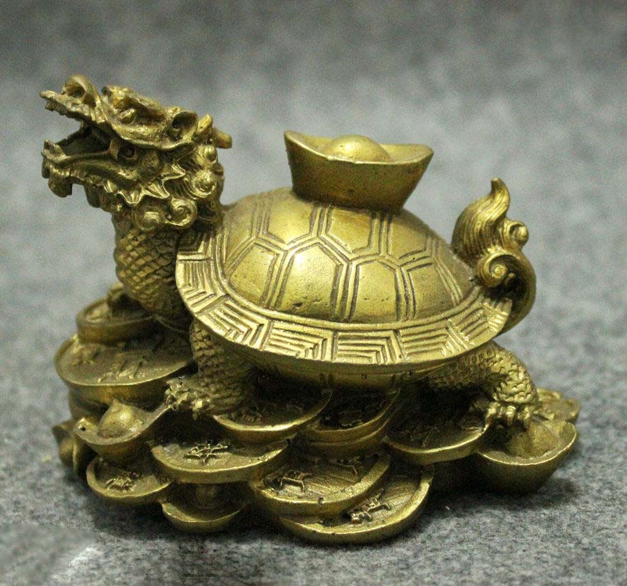 Folk Chinese FengShui Brass Wealth YuanBao Coin Dragon Turtle Statue Sculpture