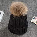 High Quality Real Fur Ball Pompom Winter Hat For Women Wool Hat Knitted Cotton Beanies Cap Brand New Thick Female Hat
