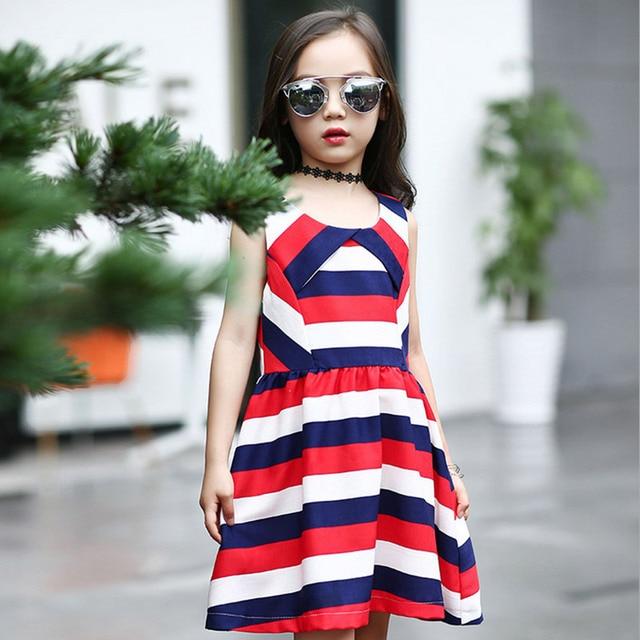 446c2ae31f5fc Robe fille été gilet sans manches robes pour filles longueur genoux rouge  bleu rayures enfants costume