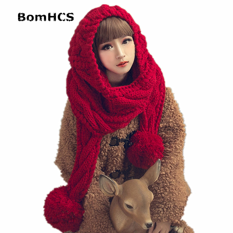 BomHCS  (Hat with Scarf + Gloves)Cute Winter Warm Big Knitting Beanie Neckerchief Handmade Knitted Hat with Scarf Gloves cute bear paw plush gloves winter warm thermal children knitted gloves full finger mittens cartoon gloves