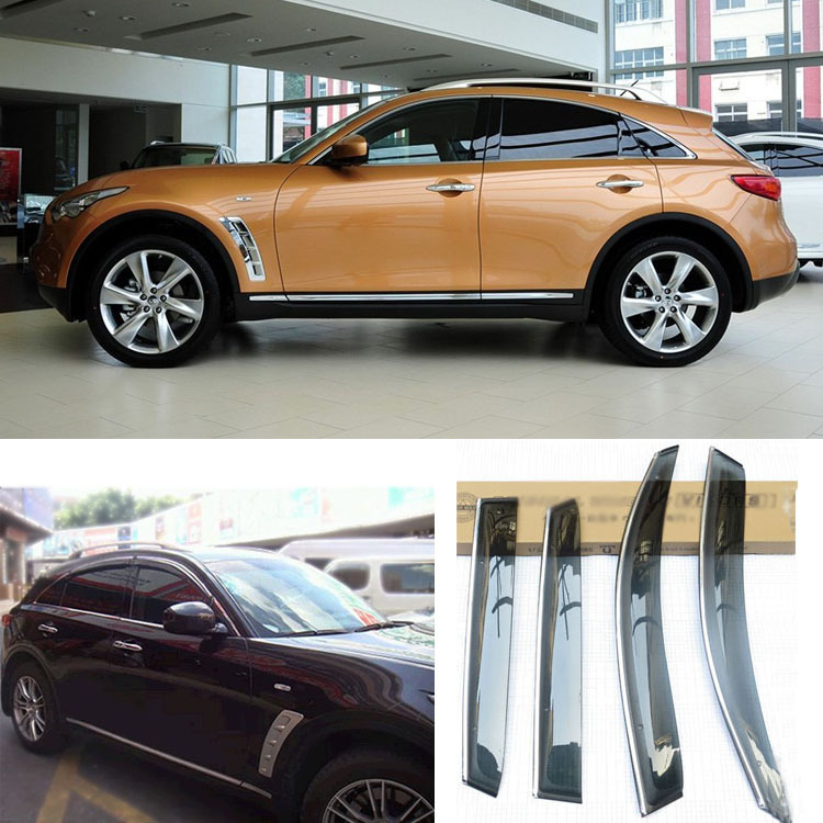 Jinke 4pcs Blade Side Windows Deflectors Door Sun Visor Shield For Infiniti FX35 2008-2013 jinke 4pcs blade side windows deflectors door sun visor shield for hyundai tucson 2013