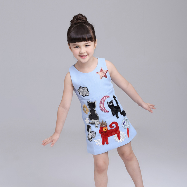 0adfe1c2b5 Cute Kids Clothes A-Line Summer Baby Girl Dress Cartoon Pattern Vest Dresses  Sky Blue Princess Dress Children Clothing 3-9Y
