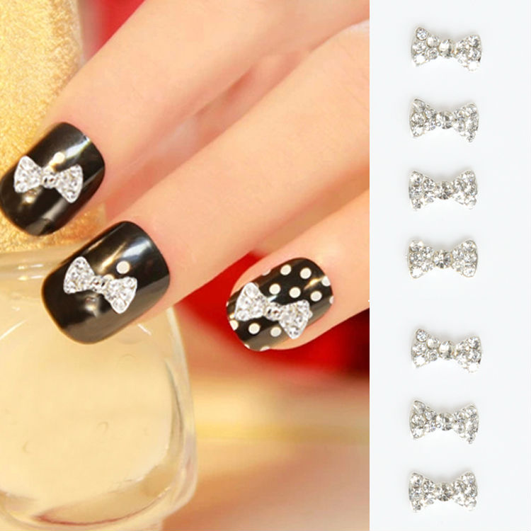 10 Pieces New Style 3D Clear Alloy Rhinestones CZ diamond Bow Tie Nail Decorations DIY N ...