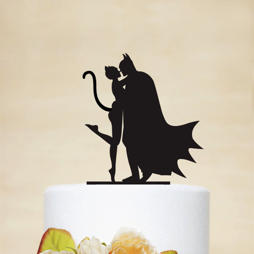 Batman and Catwoman Silhouette Cake Topper,Couple Wedding Cake Topper,Funny and unique Wedding Decor SuppliesBatman and Catwoman Silhouette Cake Topper,Couple Wedding Cake Topper,Funny and unique Wedding Decor Supplies