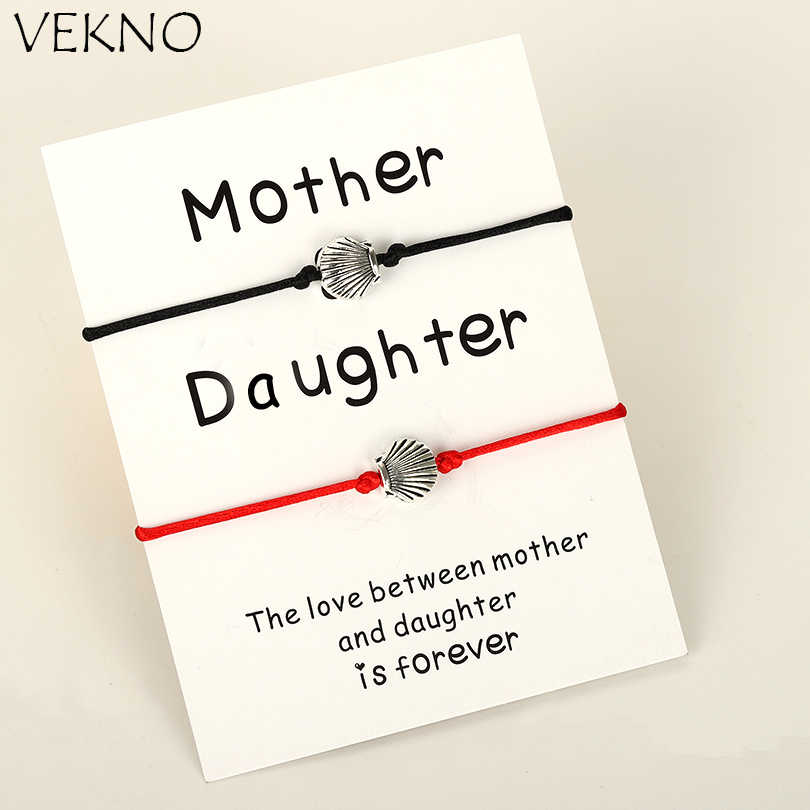VEKNO 2pcs/set Handmade Multicolor Women Bracelet for Mother Daughter Cute Silver Key Adjustable Braided Charm Bracelets Jewelry