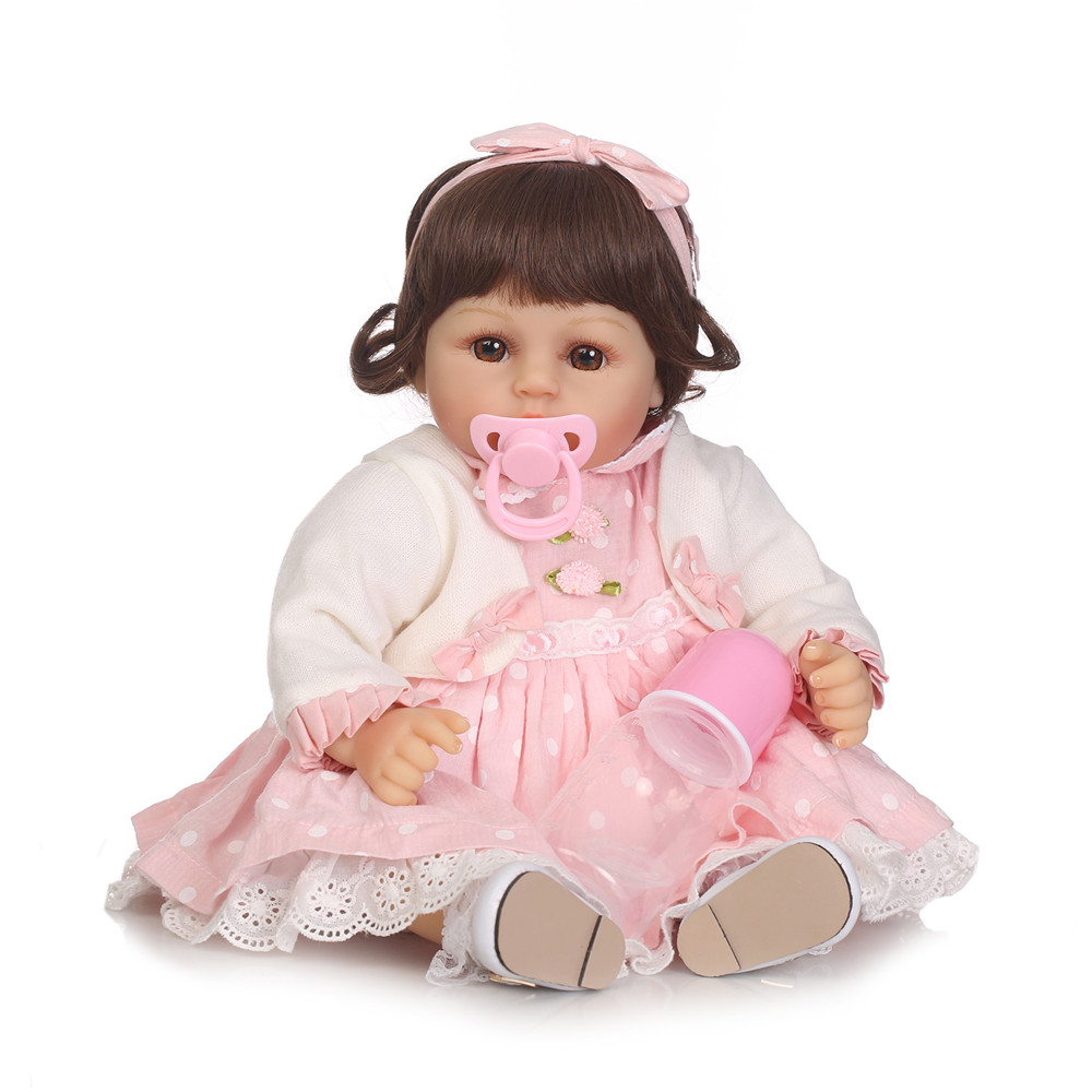 NPK New 1pc 48cm Simulated Reborn Baby Doll Soft Silicone Baby Cloth Body Doll House Playing Toy Girls' Gift Toys Wholesale