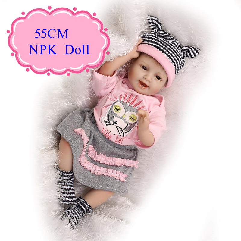 New Arrival 55cm 22inch Reborn Baby Doll With 22inch Baby Doll Clothes Hot Sell Beneca Bebe Reborn For Children As Christmas Toy