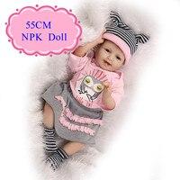 Nueva llegada 55 cm 22 pulgadas reborn baby doll con 22 pulgadas baby doll ropa Caliente de la Venta Beneca Bebe Reborn Para Los Niños Como Juguete De Navidad
