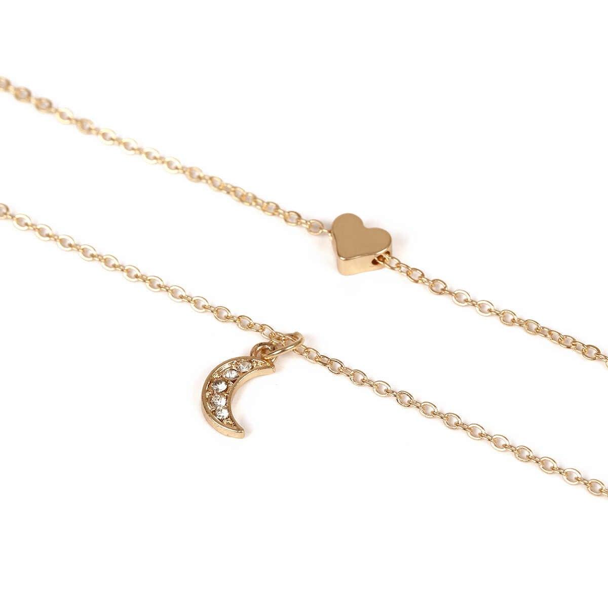 Mode Persönlichkeit Einfache Wilden Kupfer Herz Set Kristall Mond Doppel Halskette Weiblichen Kurzen Schlüsselbein Kette Hochzeit Zubehör