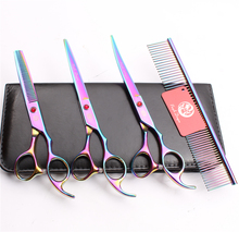 Z3003 4Pcs 7'' Multicolor Steel Comb + Cutting Shears + Thinning Scissors +UP Curved Shears Professional Pets Hair Scissors Suit 4pcs suit 7 19 5cm jp kasho professional hair hairdressing scissors comb cutting shears thinning up curved shears h3001