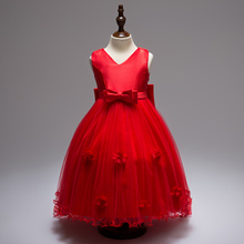 купить 2017 Children Girls Elegant Ceremonies Wedding Birthday Dresses Tail Flower Girl Party Dress With Bow for 4 6 8 10 12 14 years дешево