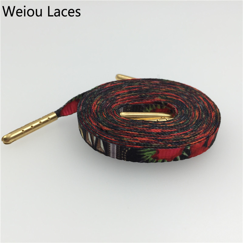 Weiou Hot Shoestring Tops Silk Screen Printing Flat Print Shoelaces For Dress Shoes Personalized Replacement Shoelaces 60-180cm