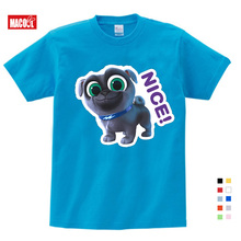 2019 Summer Cartoon Puppy Dog Pals Print Tee Tops For Boy Girls Clothing Children White Funny T-shirt Kids T Shirt Clothes 3T-9T dog print tee