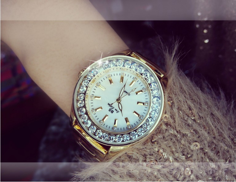 2019 New Pearl Scale Crystal Diamond Rolling Bracelet Watch Fashion Ladies Gold Rhinstone Watches Women Quartz Dress Watch Clock in Women 39 s Watches from Watches