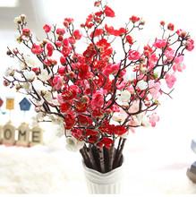 Kwiaty tanie kwiaty ze sztucznego jedwabiu kwiat śliwy kwiaty na ślub bukiet Party Decor sztuczne doniczkowe sztuczne kwiaty # M20 tanie tanio ISHOWTIENDA Chiński nowy rok 1* flower artificial Plum blossom Kwiat Oddział
