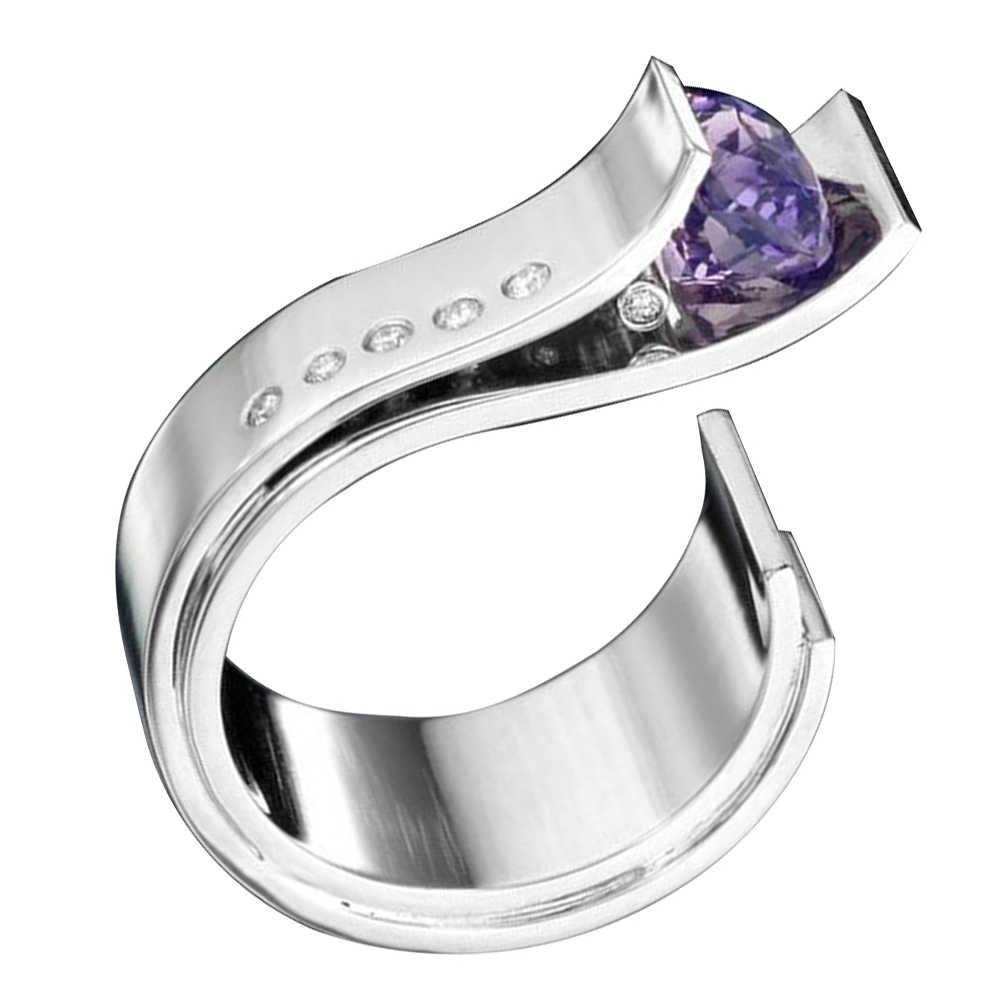 Nueva forma de gancho imitación amatista diamantes de imitación incrustaciones mujeres anillo abierto boda fiesta joyería
