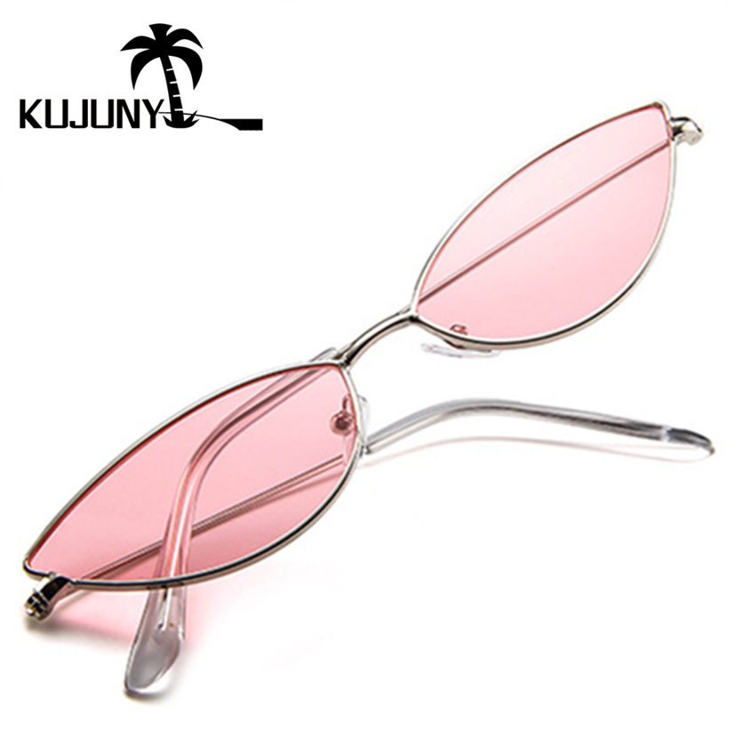 KUJUNY Brand Designer Glasses Small-Frame Retro Black Sexy Cateye Women Summer Red Cute