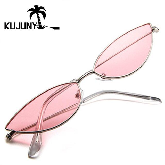 KUJUNY gafas mujer gafas de sol del ojo de gato lindo Sexy diseñador de marca de verano Retro marco pequeño negro rojo de ojo de gato gafas de sol