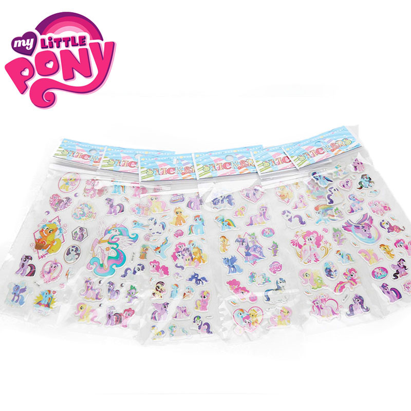 2019 6pcs/set PVC Pony Stickers My Little Pony Toys Pack Children Girl Nail Stickers 3D Rainbow Dash Twilight Sparkle Pinkie Pie-in Action & Toy Figures from Toys & Hobbies