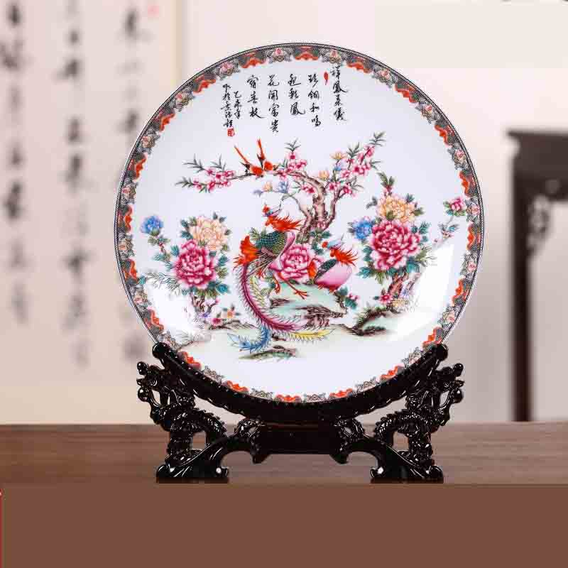 Jingdezhen Ceramic Hanging Plate Decorative Plate Chinese Wall Decoration Living Room Study Ornamental Handicrafts Accessories
