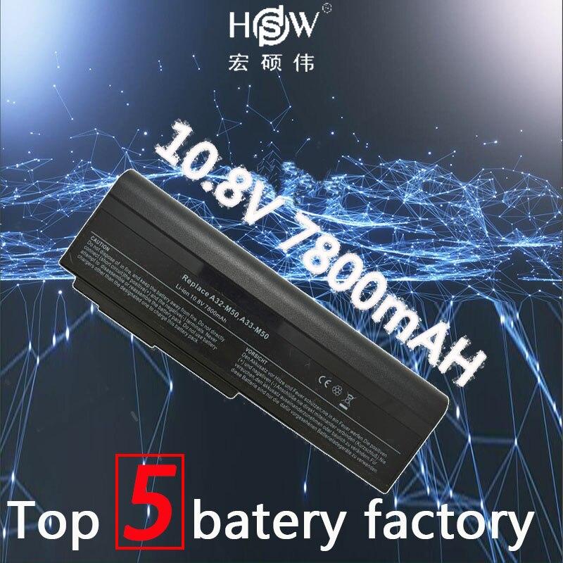 A HSW 7800mAH Da Bateria Do Portátil para Asus N53 A32-M50 M50s N53S N53SV A33-M50 70-NED1B1000Z, 70-NED1B1200Z, 70-NED1B2000Z, bateria