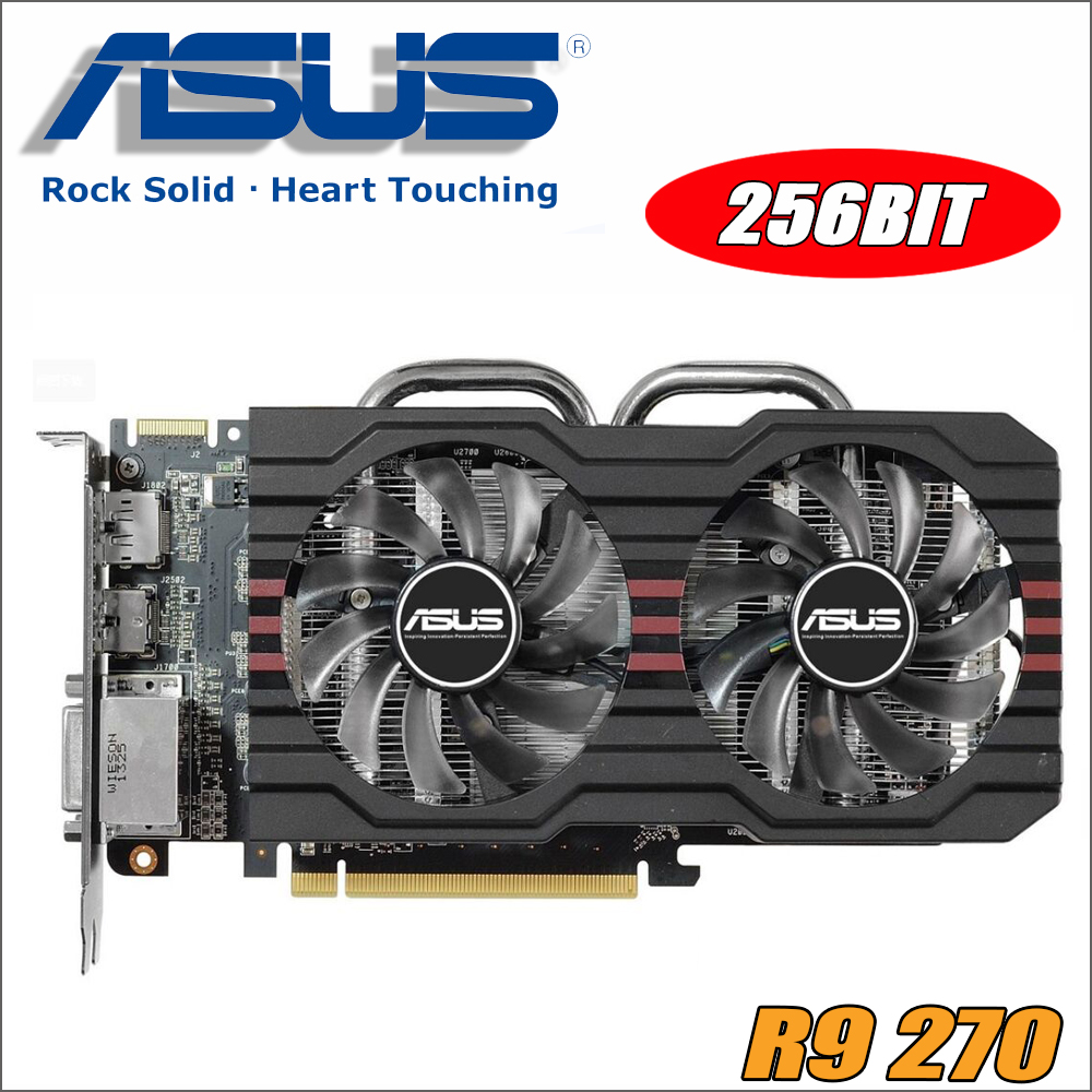 used Asus R9 270 2GB R9270-DC2OC-2GD5 R9270 256bit GDDR5 Gaming Desktop PC video Graphics Card ,100% tested good