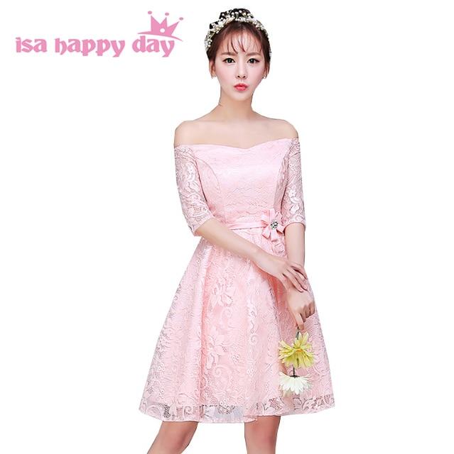 vestidos femininos modest short length formal lace light pink boat ...