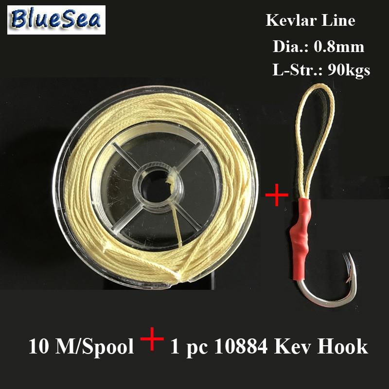 Bluesea 10 m/carretel 0.8mm90kgs auxiliar ganchos de peixe kevlar linha de pesca assistente ganchos kevlar linha de pesca kevlar alta mais forte