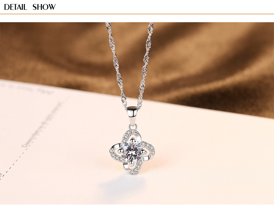 S925 Sterling Silver Necklace with 3A Zircon Fine Pendant Necklace CG13S925 Sterling Silver Necklace with 3A Zircon Fine Pendant Necklace CG13