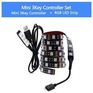 شريط ليد مزود بيو إس بي RGB للتغيير LED TV إضاءة خلفية 50 سنتيمتر 1 M 2 M 3 M 4 M 5 M DIY 5 V مرنة مصباح ليد RGB LED قطاع 5050.