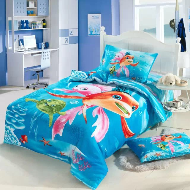 Cartoon Fish Undersea Comforter Bedding Sets Single Twin Size Bed Duvet Covers Bedspread Cotton Childrens Bedroom Decor 3 5pc In From Home