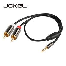 где купить Jckel Audio Cable 2RCA to 3.5 Audio Car Cable RCA 3.5mm Jack Male to Male RCA AUX Cable for Headphone Speaker Amplifier Phone дешево