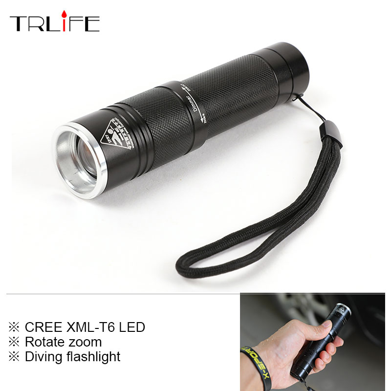 Mini Diving Flashlight Zoom Waterproof Light Long 3 modes Flashlight LED Outdoor Underwater Work Hand for 18650 or 3*AAA battery archon d10xl 3 mode white diving flashlight underwater 100m torch waterproof led light by 18650 battery for outdoor sports
