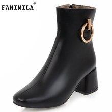 Fanimila размеры 34–43 женские ботинки на высоком каблуке из металла ботинки до середины икры теплые ботинки на меху, на молнии зимние Botas Снегоступы для женская обувь