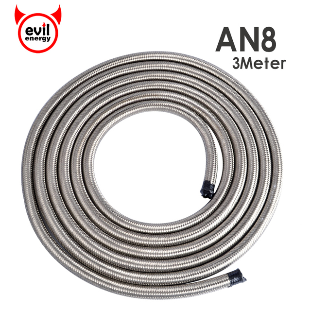 evil energy Universal Car Turbo 3Meter Oil Cooler Hose AN8 Fuel Hose End Stainless Steel Double Braided Fuel Line Silver