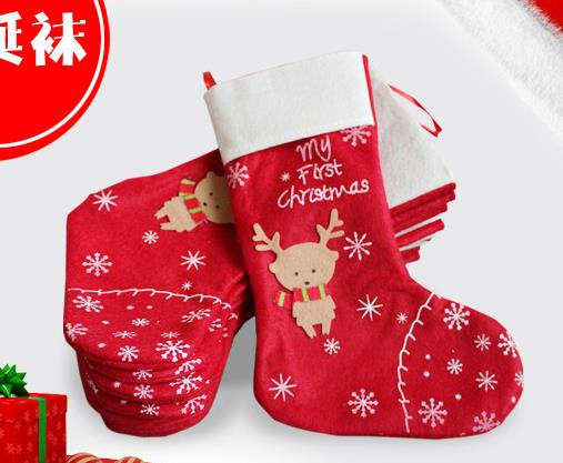 christmas decorations snowflake deer christmas stocking gift bag candy bags wrap long stockings socks festive party supplies in stockings gift holders