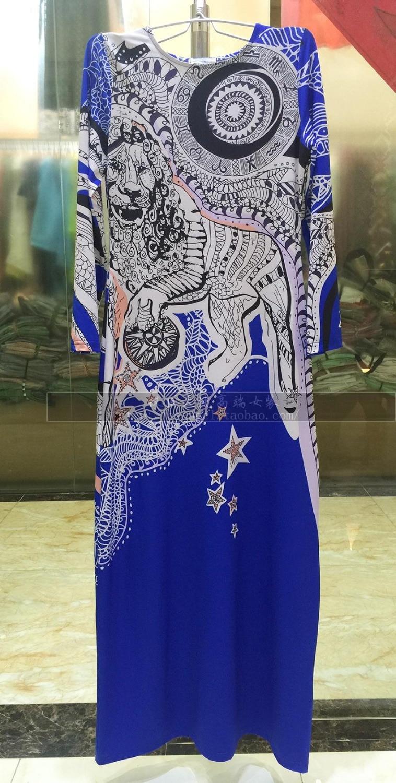 European new Bohemia extended elastic thin blue print beautiful dress