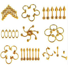 Mix Lot Wholesales 80Pcs Stainless Steel Eyebrow Piercing Belly Button Rings Naval Ear Nose Rings Lip Tongue Body Jewelry Gold mix lot wholesales 80pcs stainless steel eyebrow piercing belly button rings naval ear nose rings lip tongue body jewelry gold