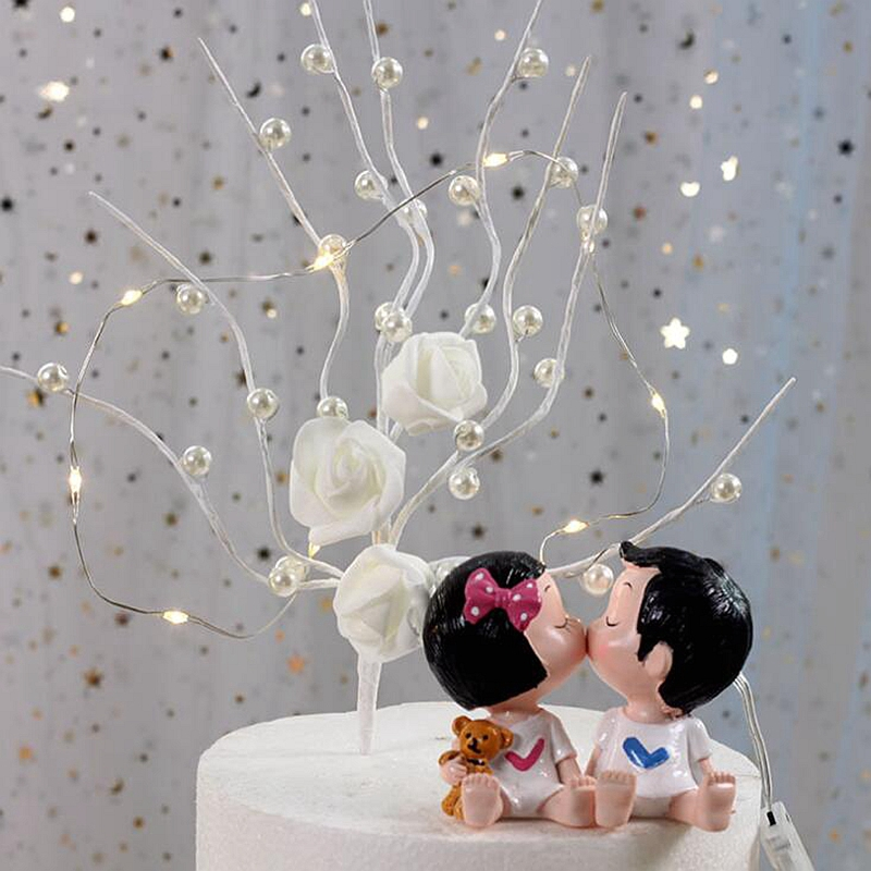 Us 1 03 31 Off New Rattan Twig Branch Wreath Tree Pearl Rose Flowers Wedding Cake Toppers For Girl Children Birthday Decoration Party Supplies In