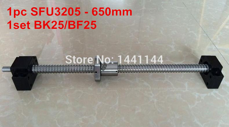 SFU3205 - 650mm ballscrew + ball nut with end machined + BK25/BF25 Support noulei 1pcs bk25 c3 and 1pcs bf25 c3 ball screw end support for sfu3205 sfu3210cnc