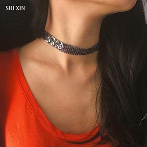 Женское ожерелье-чокер SHIXIN, богемное ожерелье с разноцветными блестками на цепочке, украшения в стиле бохо, подарки 2020