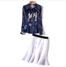 European and American women's wear 2017 The new winter Star print bow shirt Fish tail skirt suit