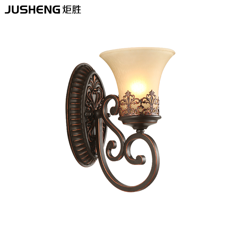 все цены на American Retro Creative Bedroom Bedside Lamp Living Room Background Wall lamps Iron Single Head Mediterranean Wall Light