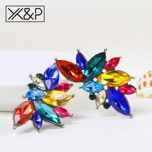X&P Fashion Charm Brand Rhinestone Zircon Stud Earring For Women Stone Flower Crystal Earrings Jewelry Women earings pendientes